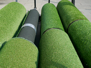 Rolls of artificial lawn